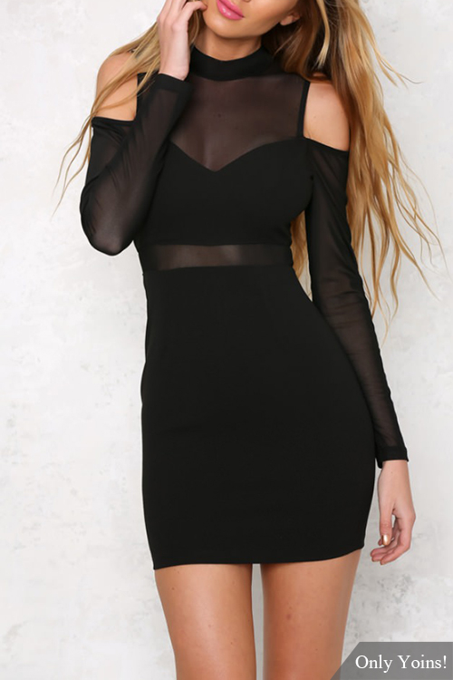 See-through Long Sleeves Mini Dress with Cut Out Details cut and sew panel full length dress with pockets