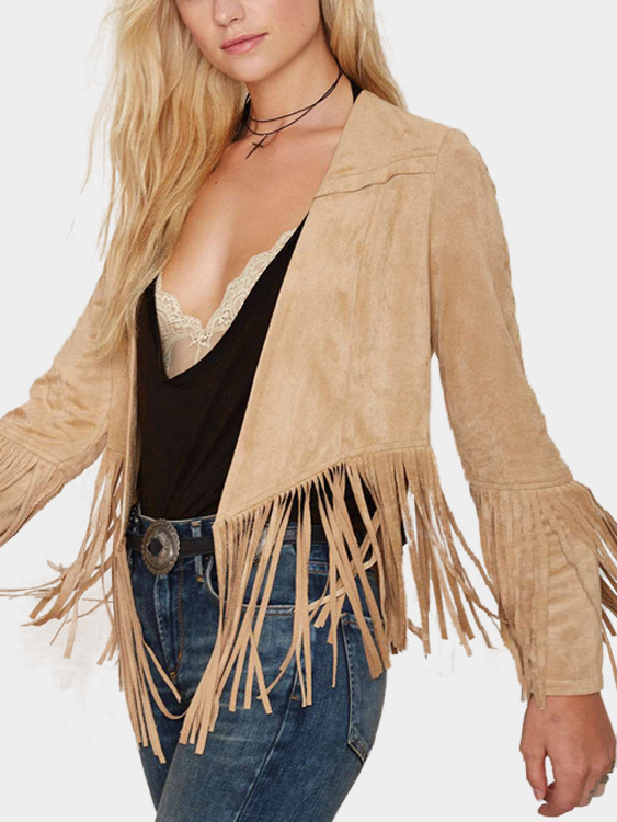 Camel Open Front Coat with Tassel Details