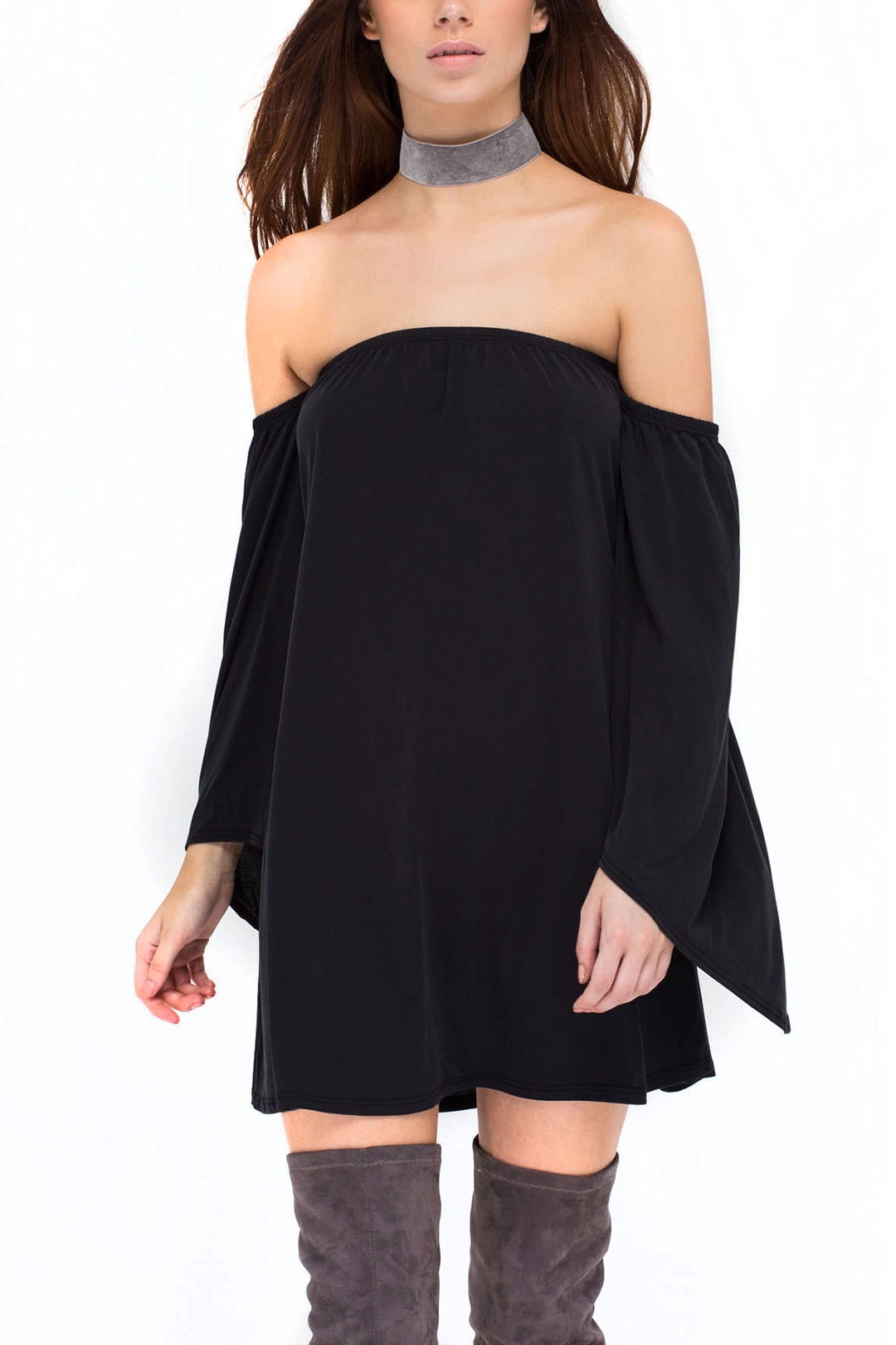 Black Off Shoulder Long Sleeves Mini Dress