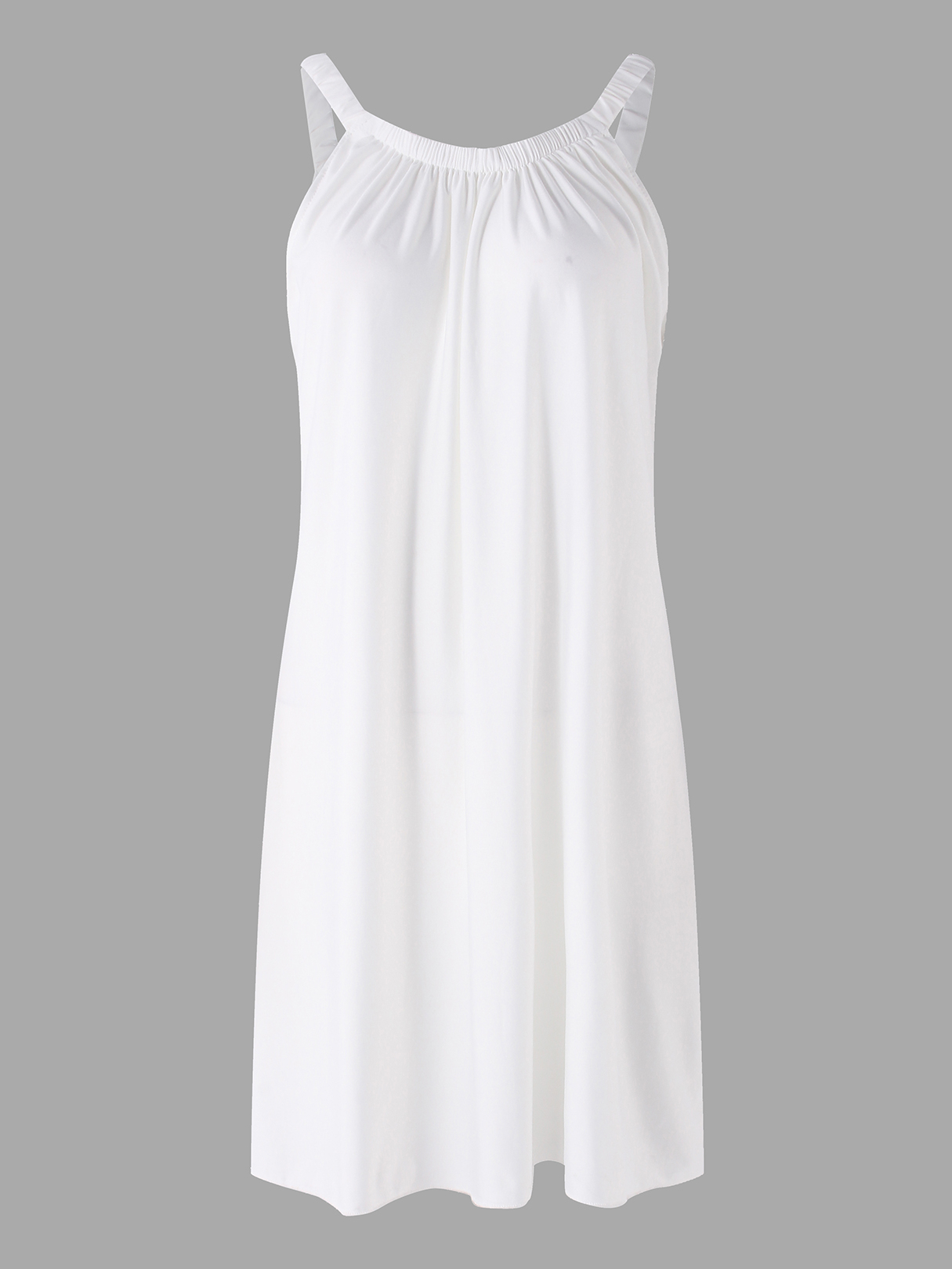 White Spaghetti Plain Round Neck Sleeveless Mini Dress white casual round neck ruffled dress