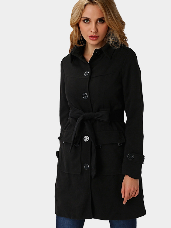 Image of Black Classic Collar Single Breasted Design Tweed Trench Coat