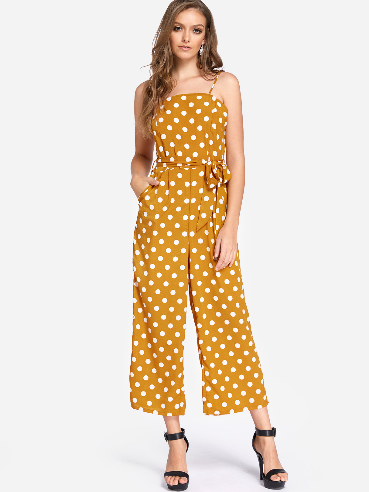 Yellow Self-tie Design Polka Dot Off The Shoulder Jumpsuit self tie split side camo jumpsuit