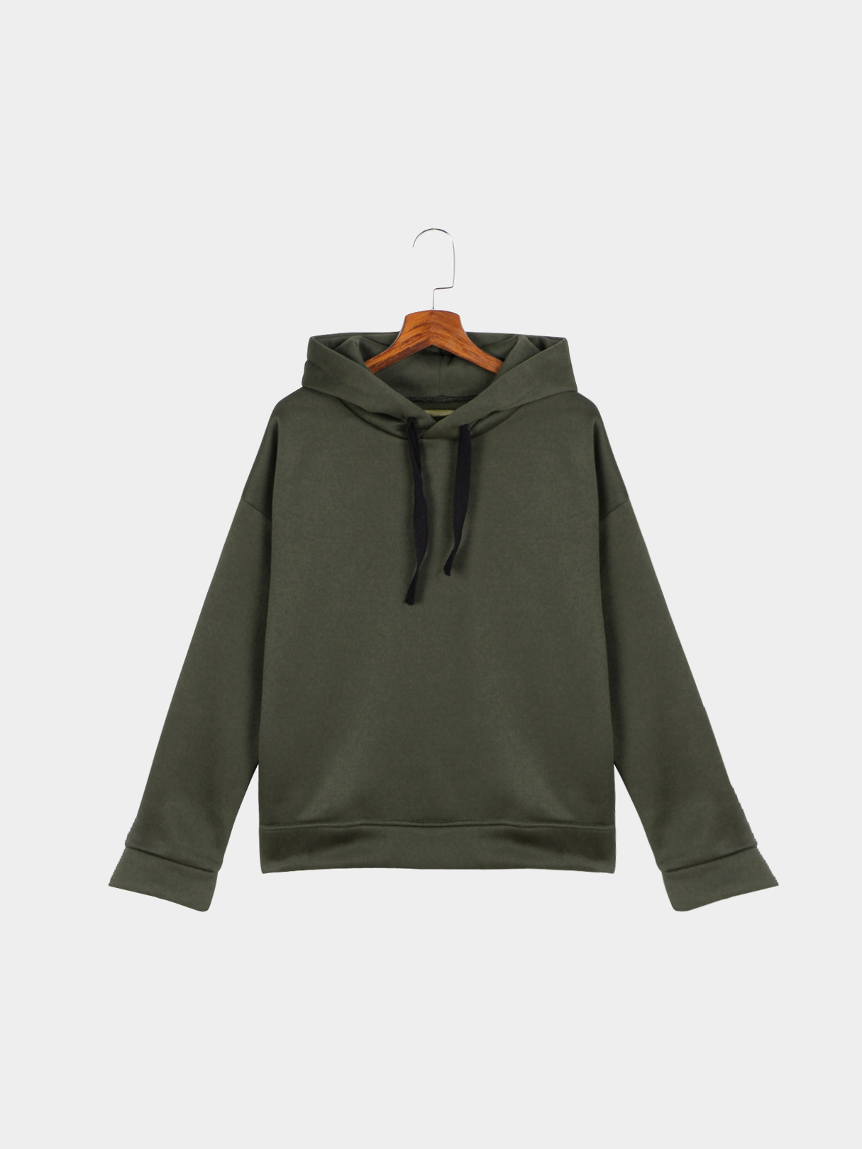 Army Green Strappy Front Split Zipper Hooded Sweatshirt grey layered contrast color hooded strappy front sweatshirt