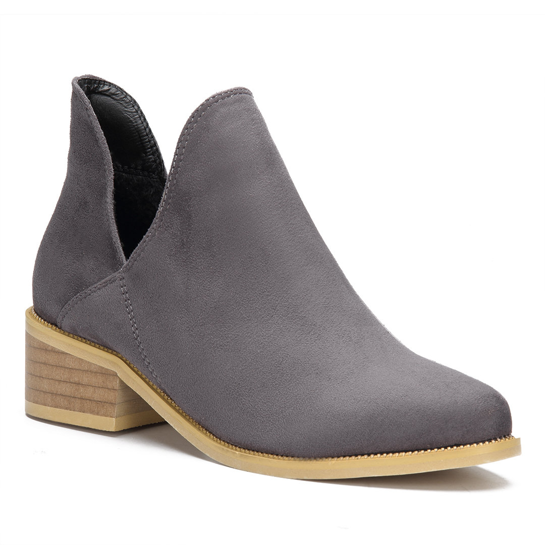 Grey Suede Cut Out Ankle Boots