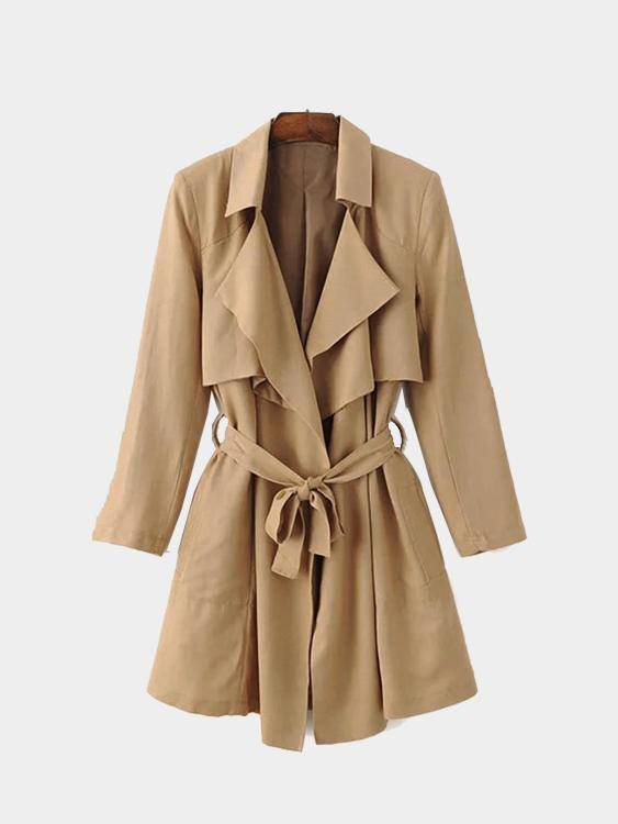 Khaki Trench Coat With Self-tie Belt khaki two pockets causal trench coat