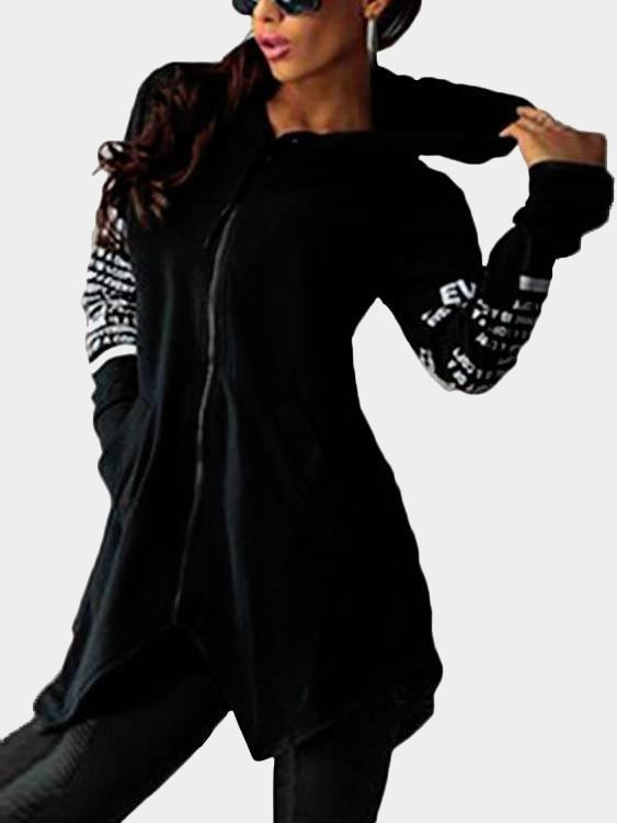 Black Hooded Design Letter Long Sleeves Sweatshirt