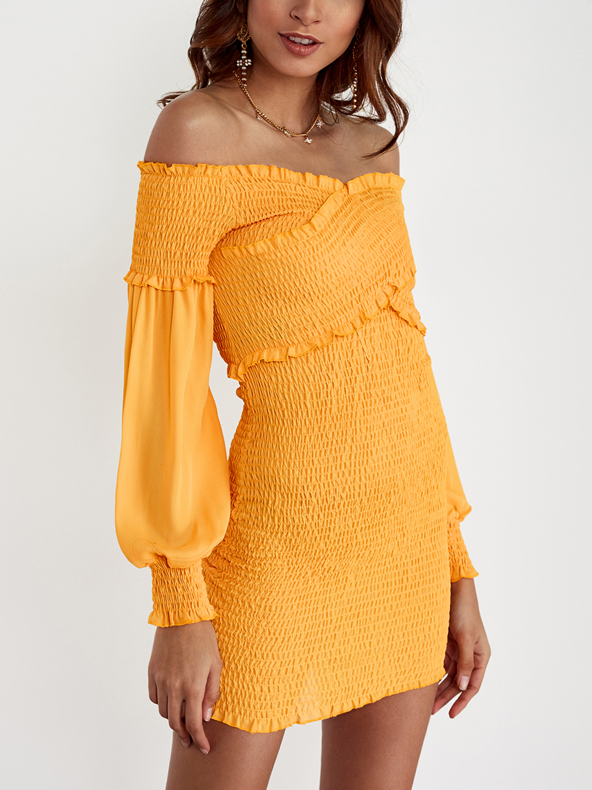 Yellow Off-The-Shoulder Cross Front Shirred Bodice Mini Dress cute off the shoulder lemon dress for women
