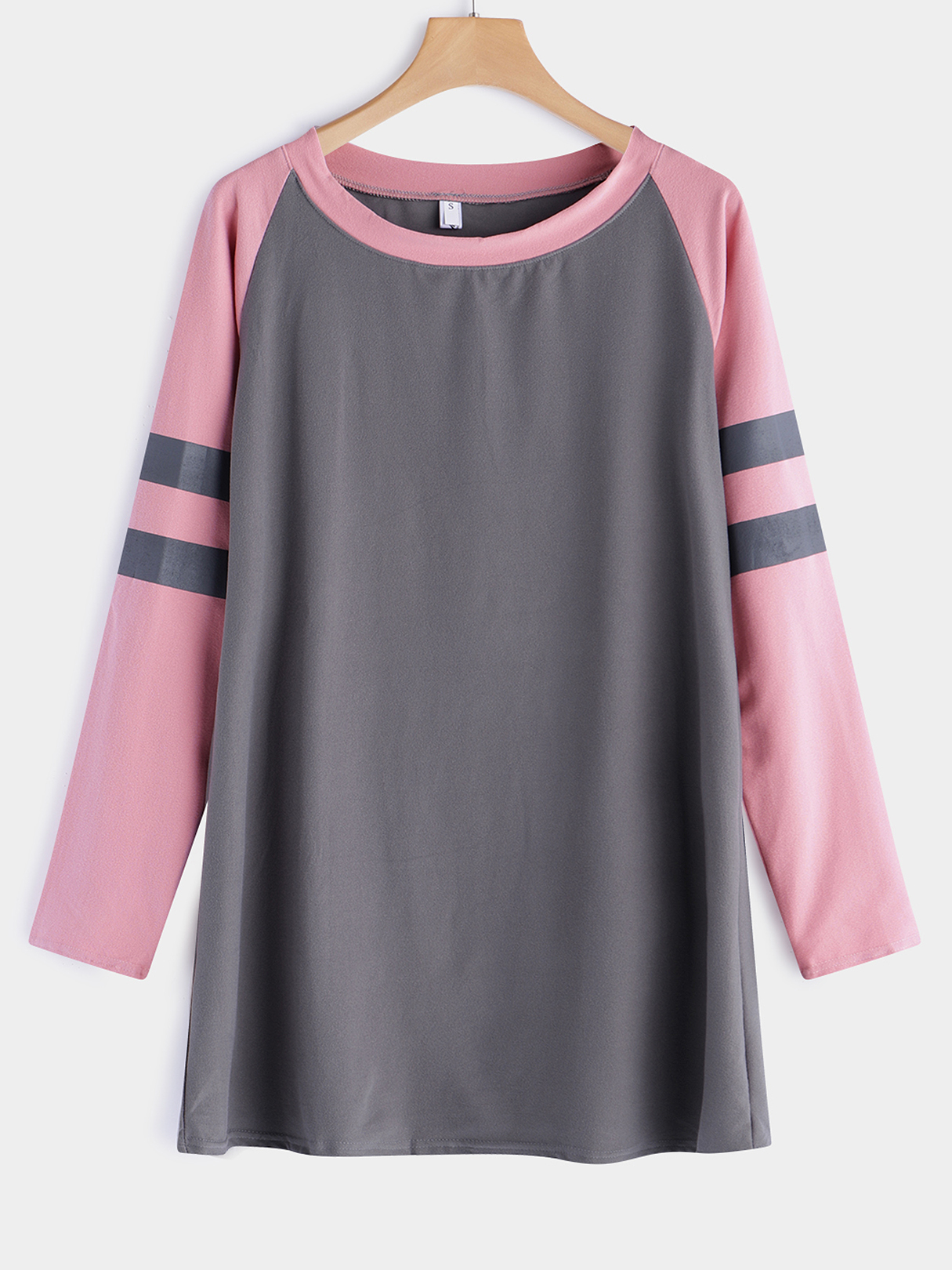 Grey Stripe Details Crew Neck Long Sleeves T-shirt black sexy crew neck rips details t shirt