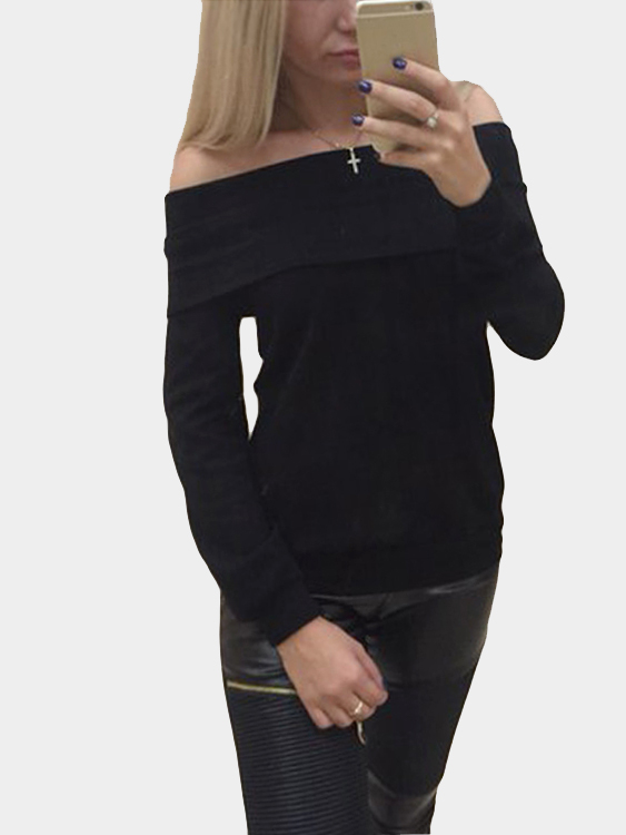 Black Casual Lightweight Off Shoulder T-shirts