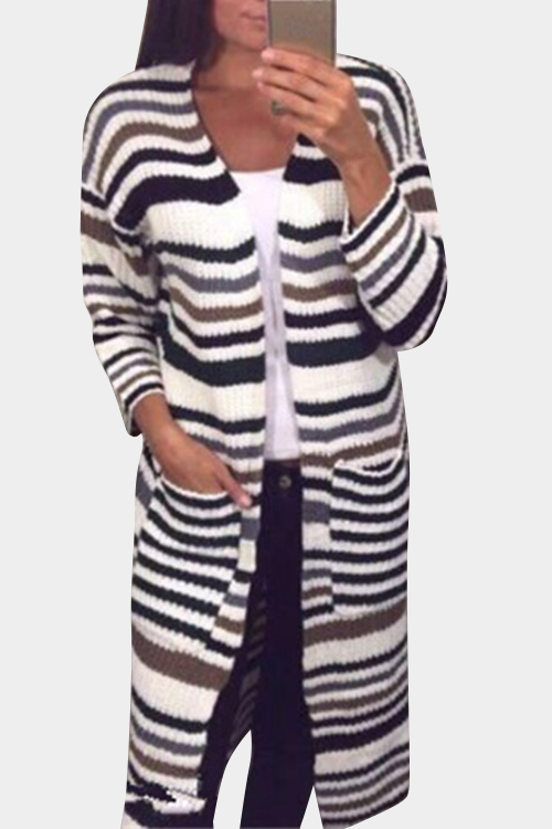 Green Stripe Patch Pockets Long Sleeves Cardigans