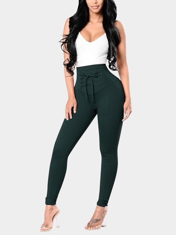 Dark Green High-waisted Elastic Pencil Pants with Lace-up Front Design black high waisted elastic pencil pants with lace up front design