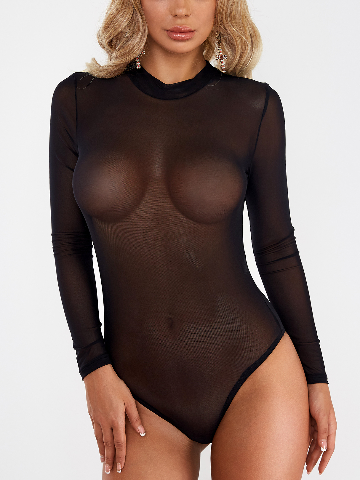 Black Net Yarn Perkins Collar Long Sleeves See-through Sexy Bodysuit black hollow design perkins collar sleeveless sexy jumpsuit