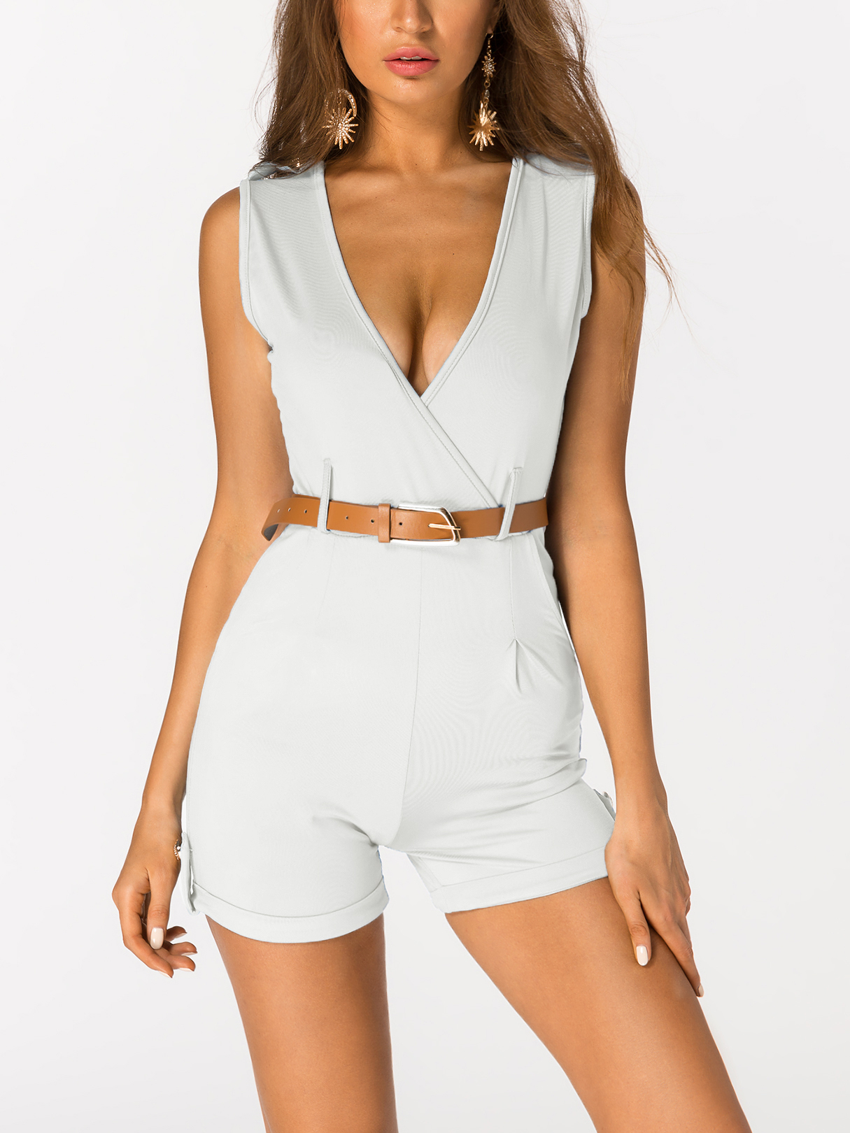 White Crossed Front Design V-neck Sleeveless Sexy Playsuit With Belt v neck wrap front playsuit in white