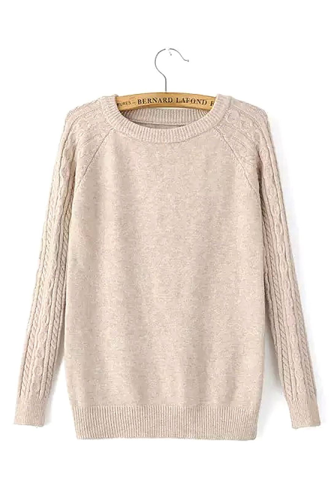 Cable Knit Long Sleeve Sweater in Apricot