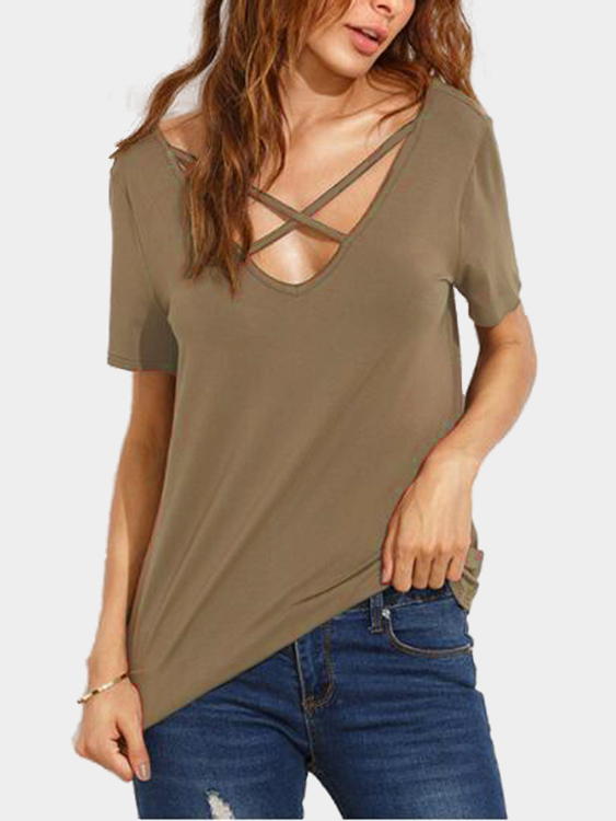 Khaki Cross Straps Front & Back Deep V-neck T-shirts туфли instreet instreet in011amhgj78