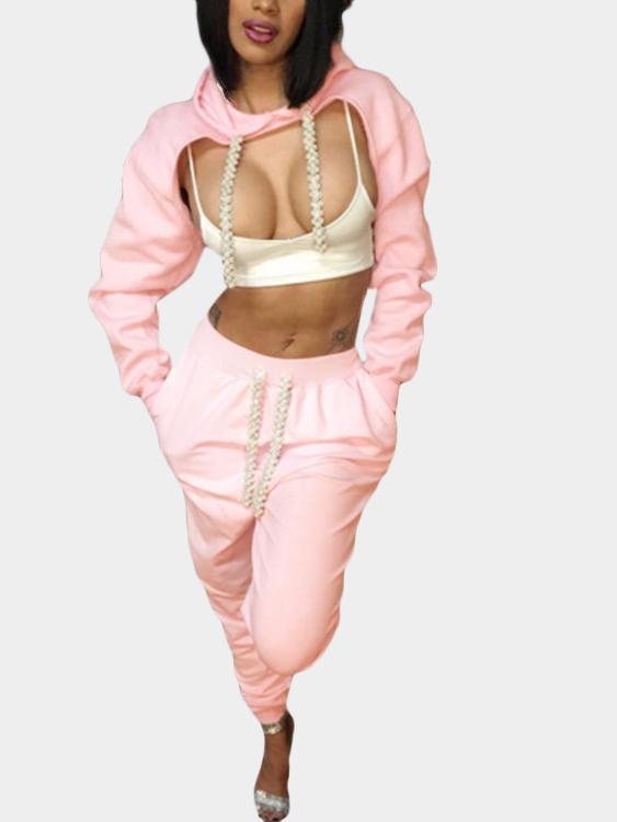 Pink Sexy Cut Out Top & Drawstring Waist Trousers Two Piece Outfits pink causal drawstring waist harem trousers