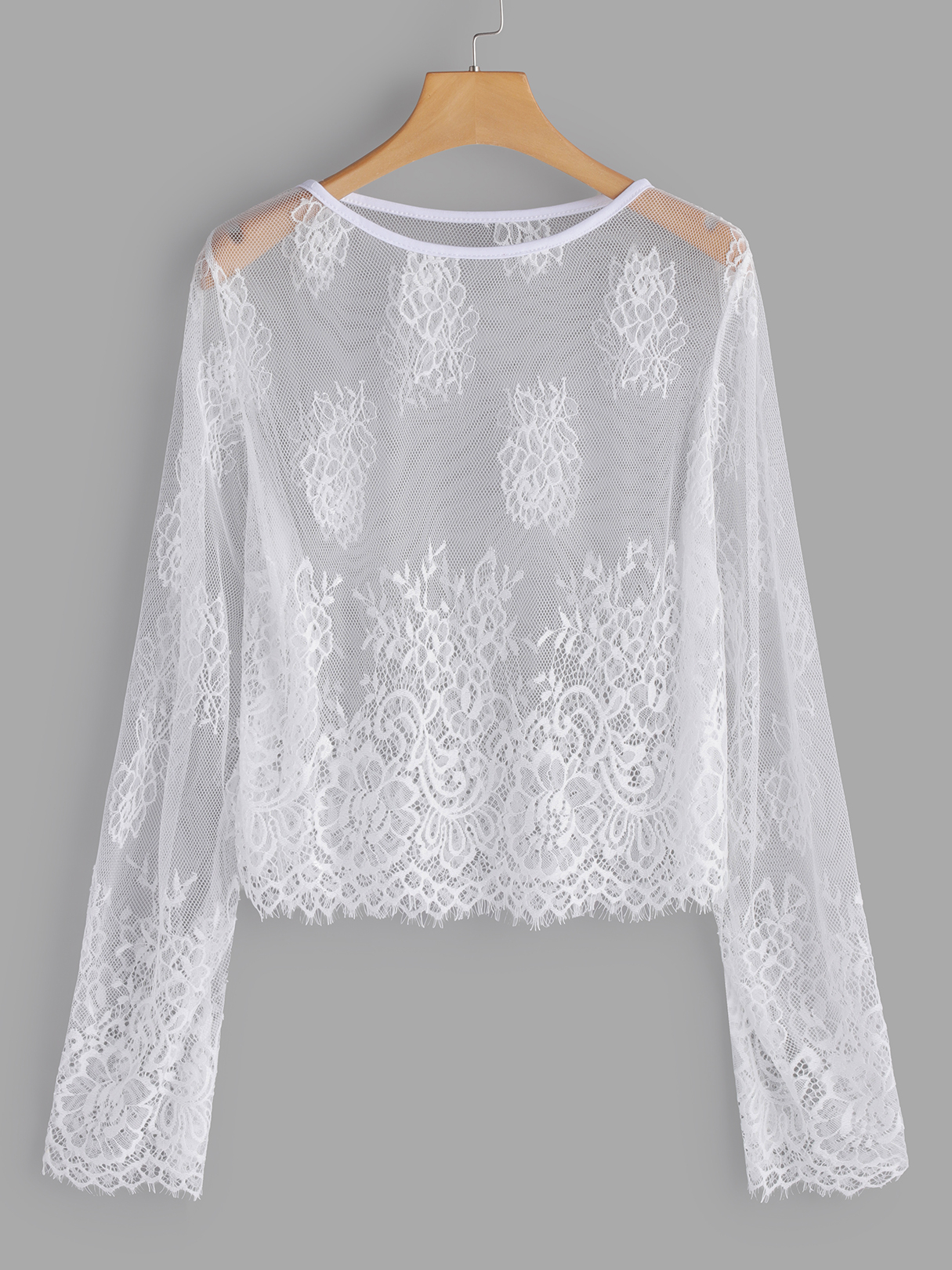 White Lace Details See-through Long Sleeves Blouse white see through crochet lace cold shoulder long sleeves dresses