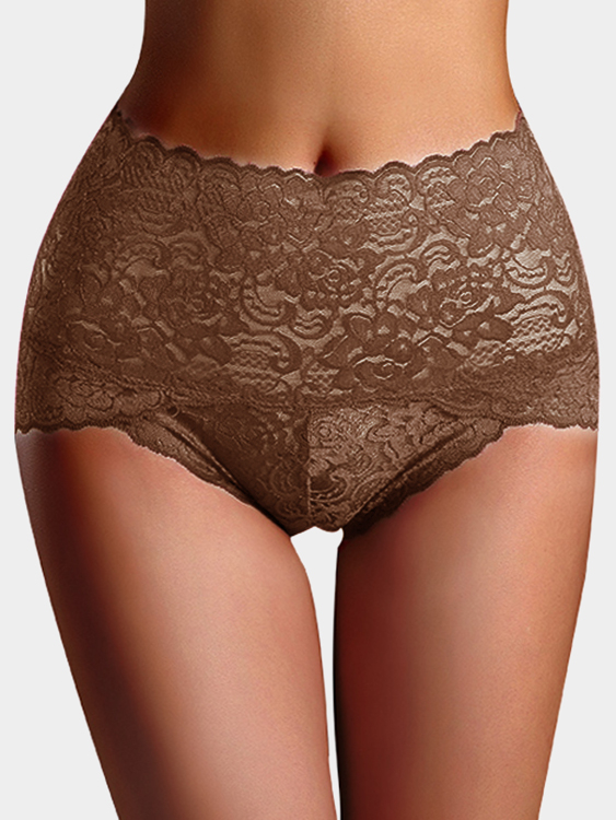 Coffee Lace Details High-waisted Teddy Panties bow lace teddy with thong