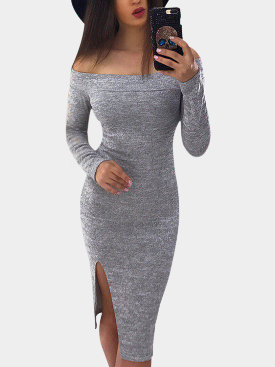 Light Grey High-Waisted Slit Design Off The Shoulder Midi Dress casual grey turtleneck slit hem midi dress