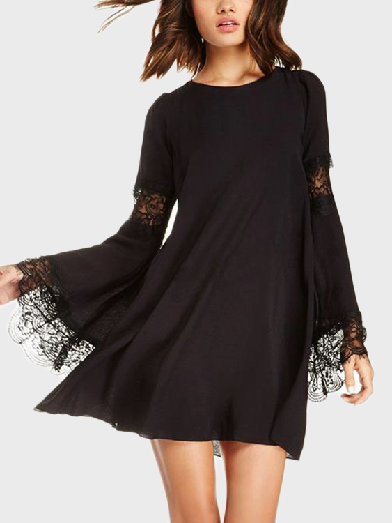 Black Lace Details Round Neck Long Sleeves Dress