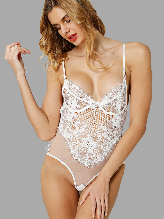 White Sexy Lace Hollow Out See-through Bodysuit with No Falsies sexy black lace lingerie set with no falsies