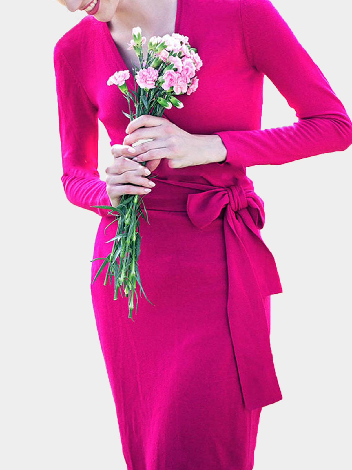 Rose Red Wrap Front Dresses