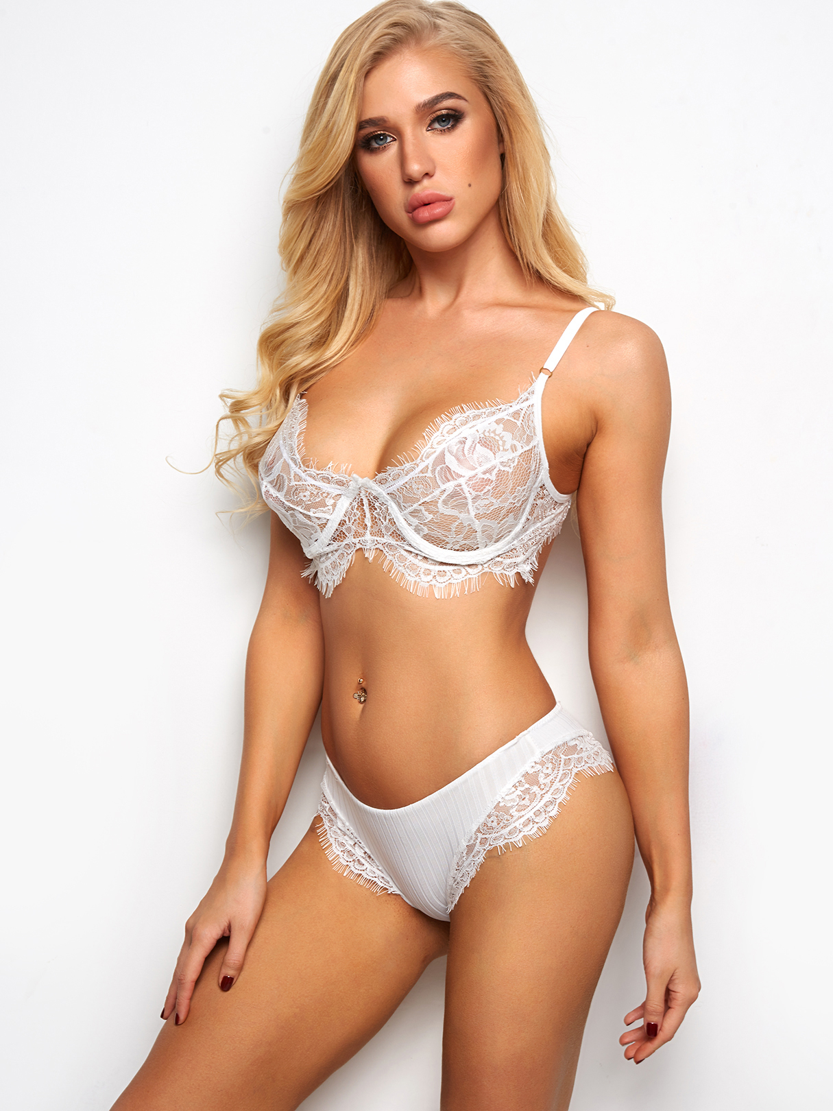 White Sexy Delicate Eyelash Lace Hem Lace Lingerie Set sexy white lace hem lingerie with no falsies
