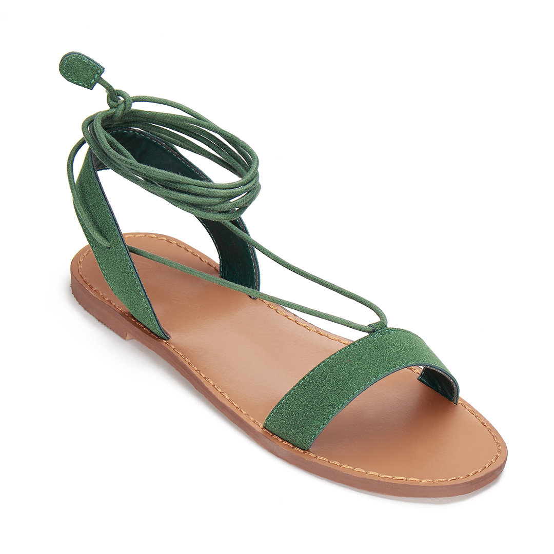 Green Strappy Lace-up Flat Street Style Sandals