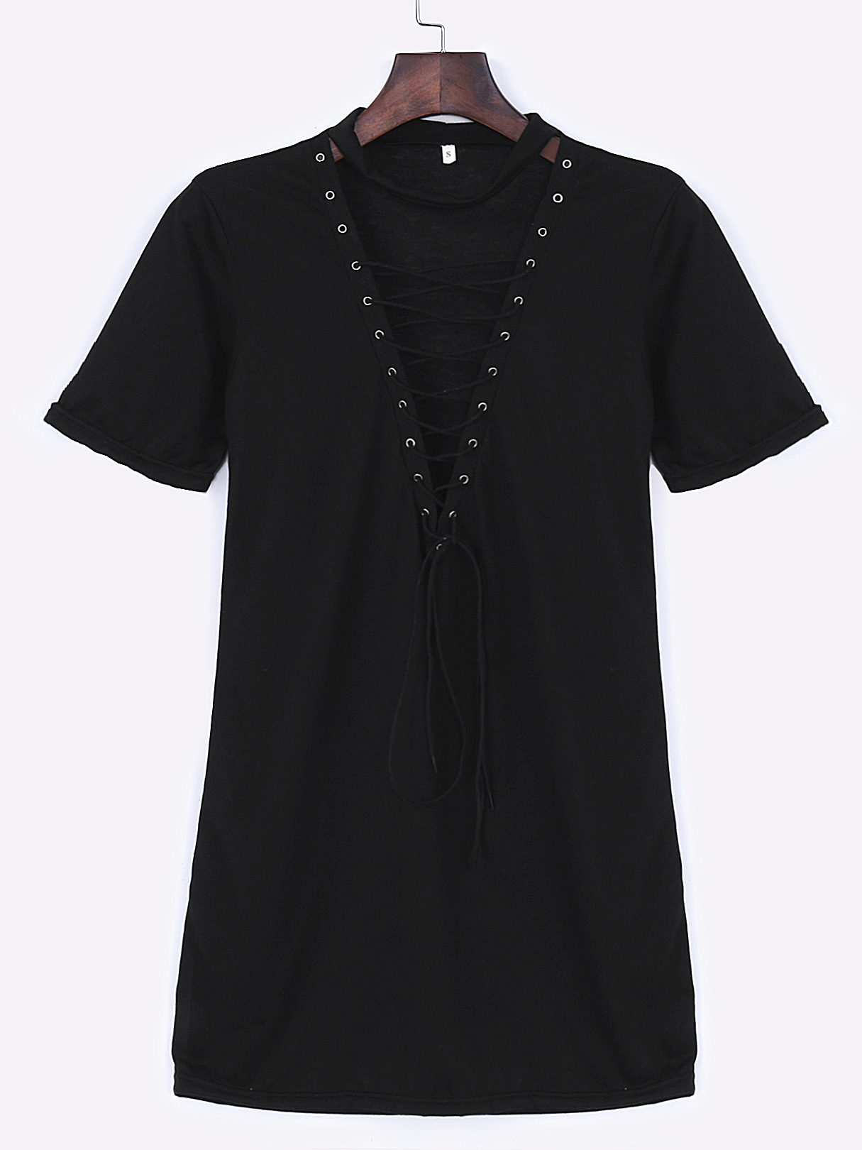 Casual Lace Up Short Sleeves Mini Dress In Black