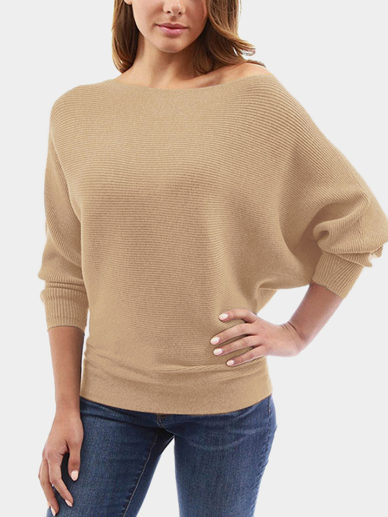 Khaki One Shoulder Long Sleeves Sweater black one shoulder long sleeves causal sweater