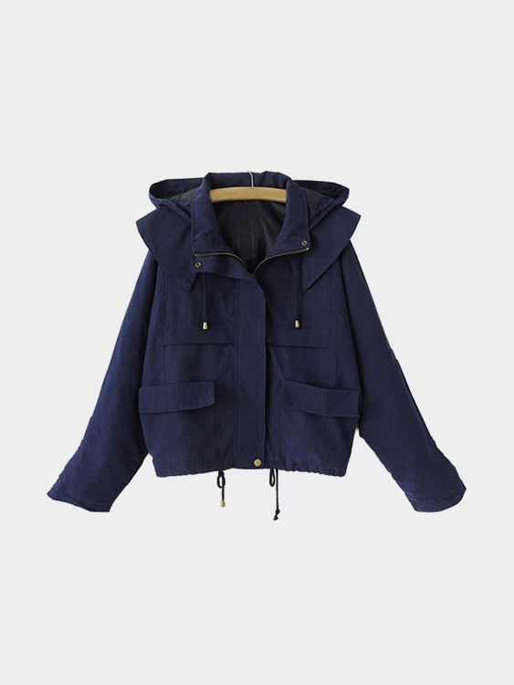 Dark Blue Hoodie Zipper Drawstring Design Short Length Trench Coat all we shall know