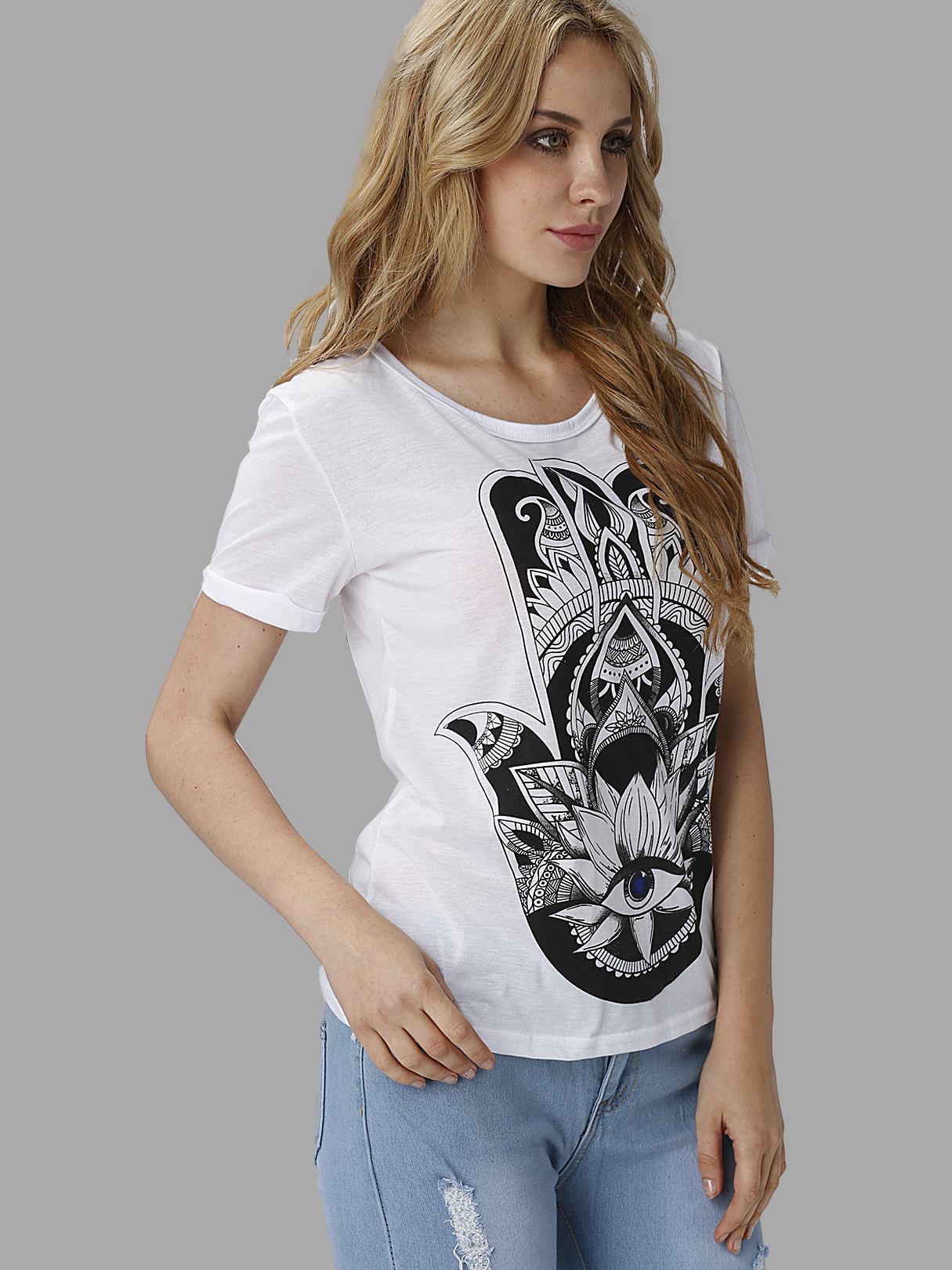 Basic Style See-through White Round Neck T-shirt with Hand Pattern pyramida basic casa 50k white
