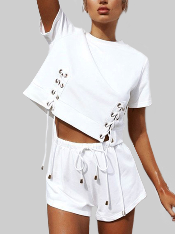 White Lace-up Design Short Sleeves Crop Top black lace up design random floral pattern tube top short sleeves playsuit