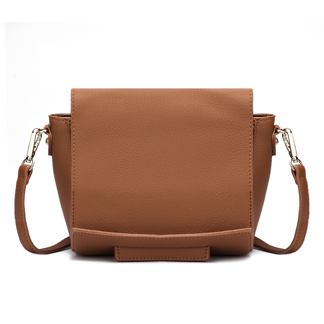 Leather-look Across Body Bag in Brown