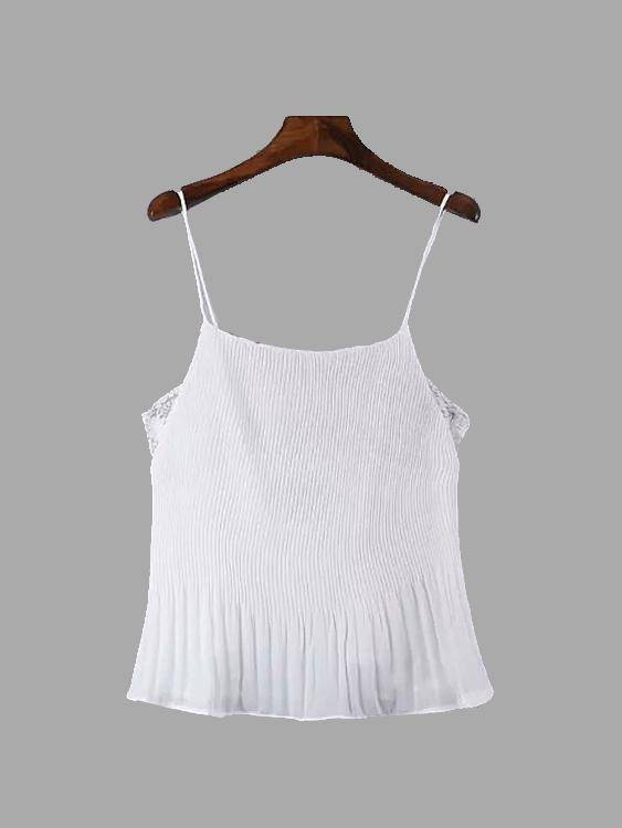 Lace Insert Pleated Cami in White