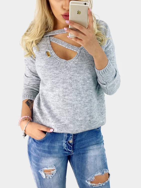 Grey Solid Color Woolen V-neck Long Sleeves Top от Yoins.com INT
