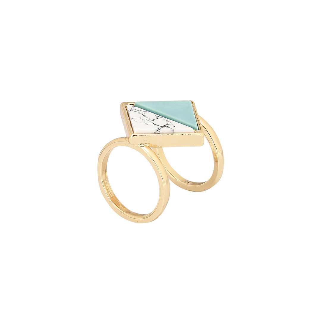 Triangle Stone Double Ring