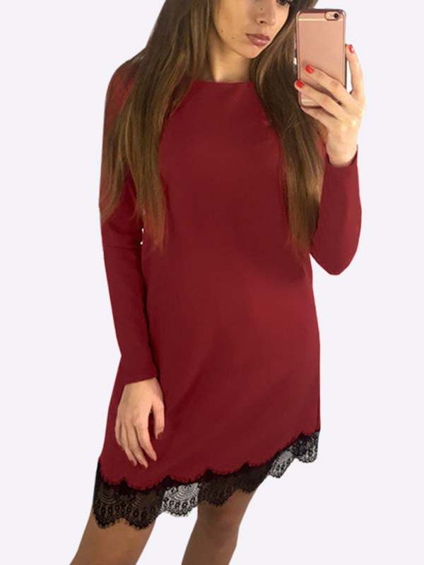 Red Casual Long Sleeves Round Neck Lace Hem T-shirt Dress