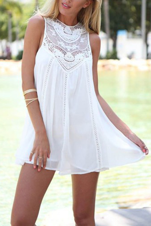 Sleeveless A-line Mini Dress with Lace Details