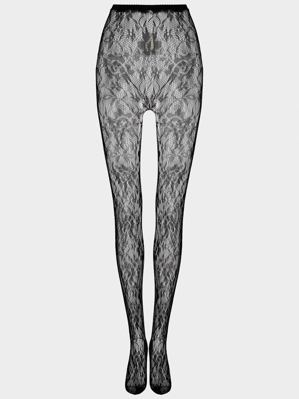 Sexy Floral Pattern Hollow Design Stockings in Black