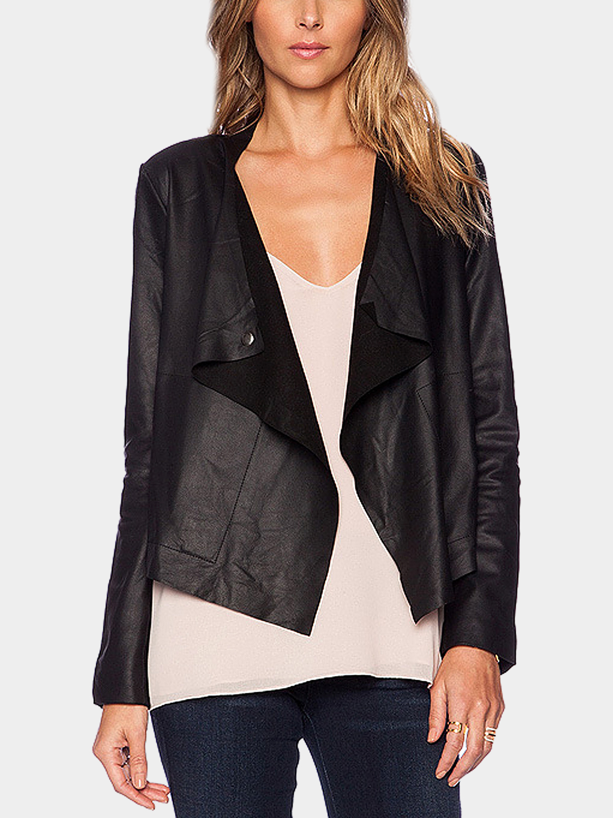 Black PU Leather Draped Short Biker Jacket