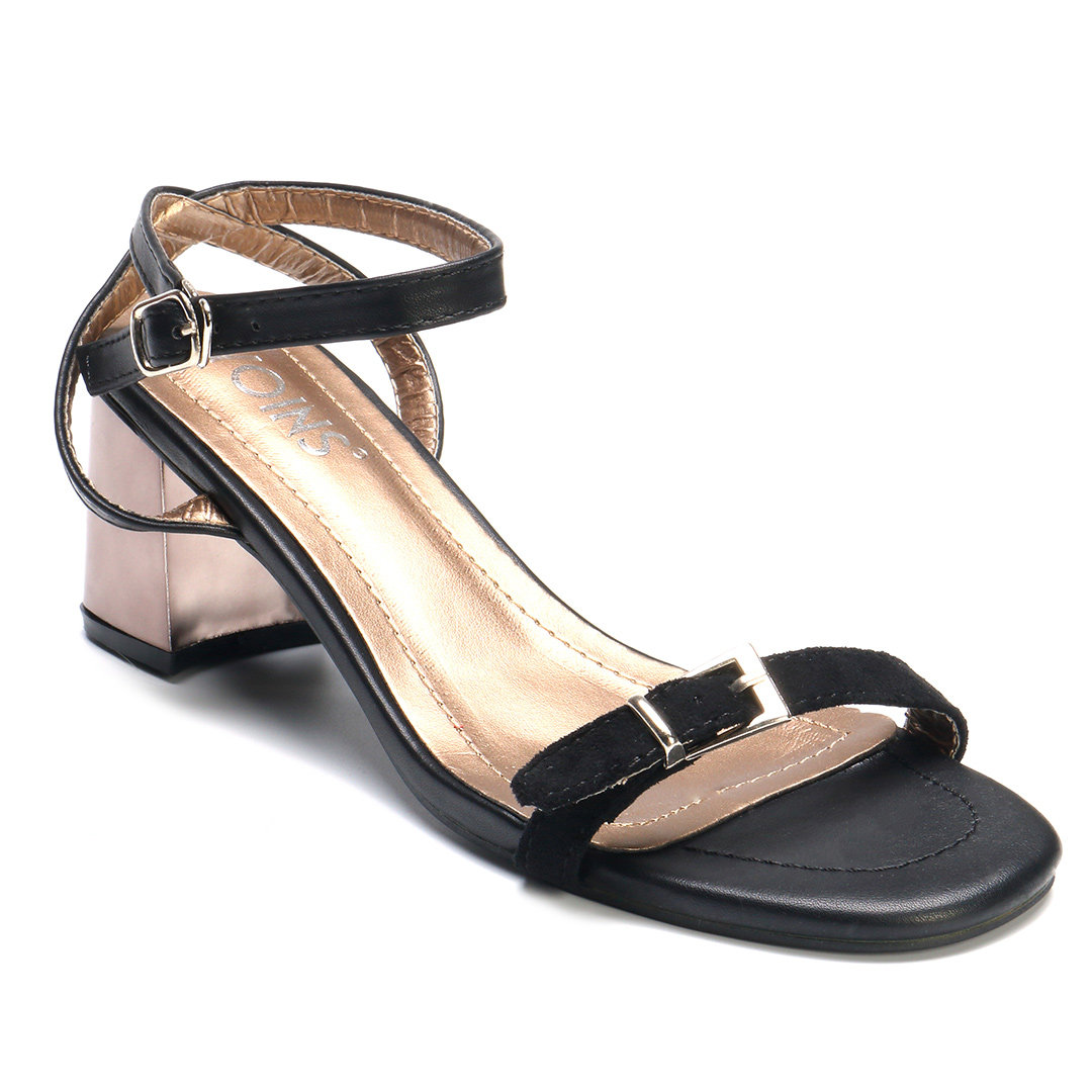 Black Chunky Heel Strap Ankle Sandals