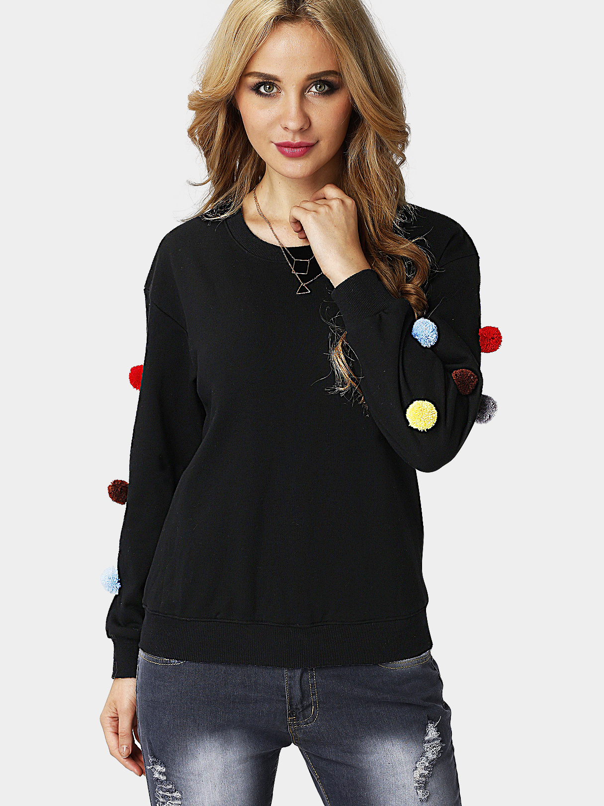 Black Long Sleeves Round Neck Sweatshirt with Pom Pom Details grey fashion round neck long sleeves pom pom details sweatshirt