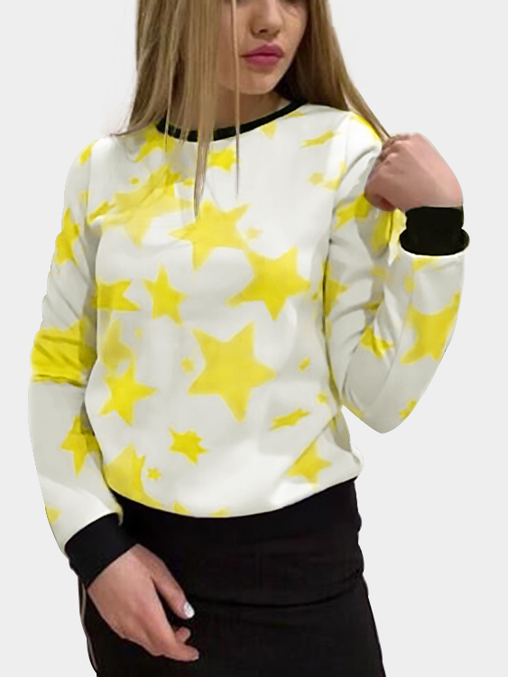 White Star Print Round Neck Long Sleeves Top