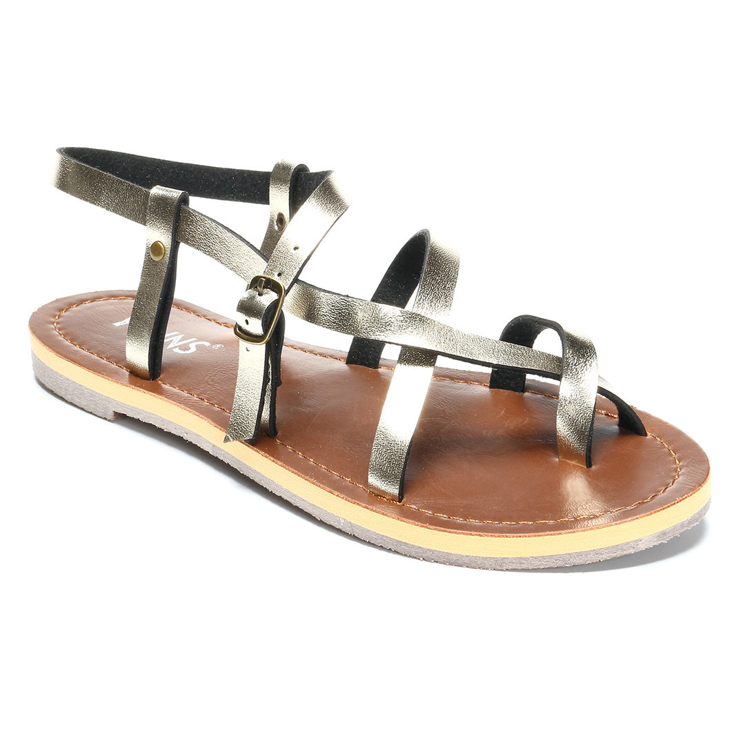 Gold Crossing Strap Flat Sandals
