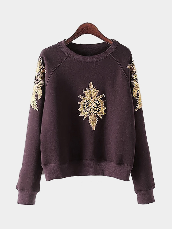 Dark-red Pullover Gold Color Embroidery Pattern Sweatshirt