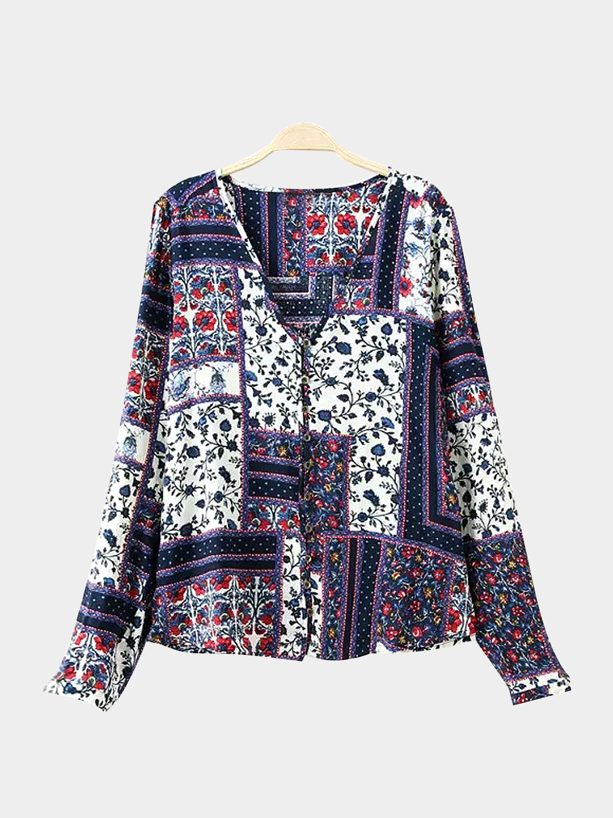 V Neck Long Sleeve Top in Floral Print