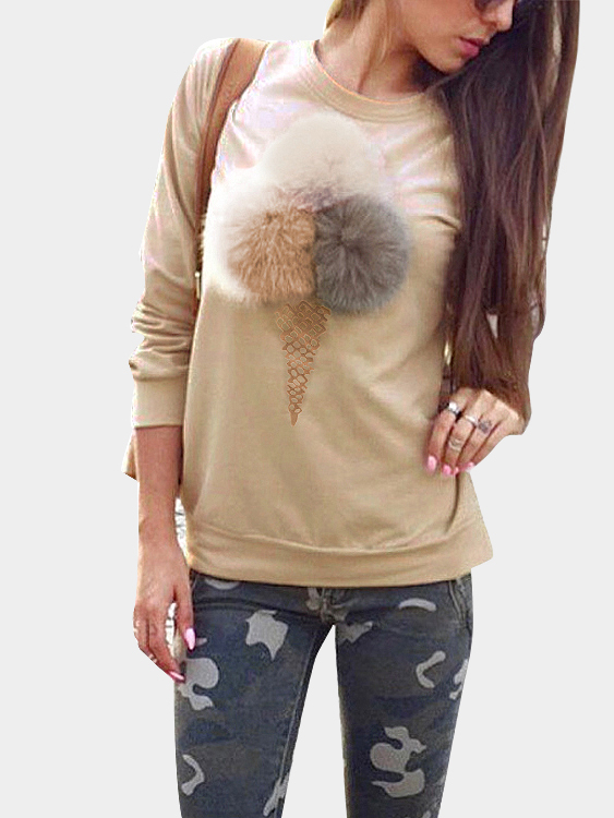 Khaki Round Neck Sweatshirt with Pom Pom Details grey fashion round neck long sleeves pom pom details sweatshirt