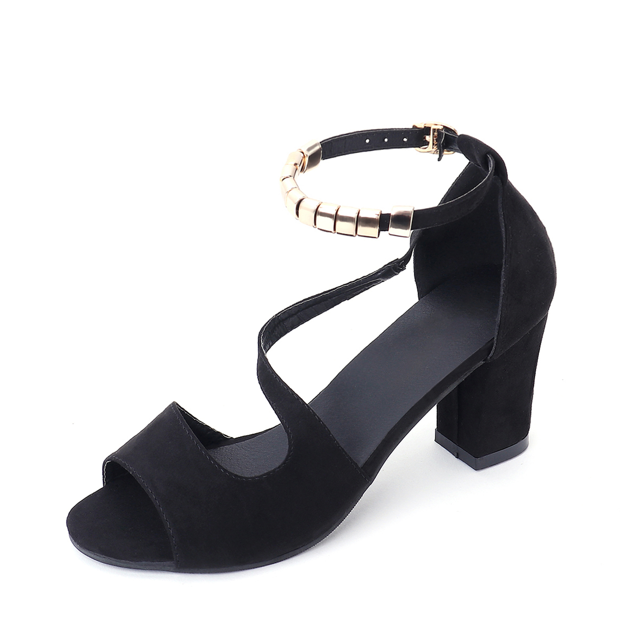 Black Chunky Heel Sandals with Ankle Strap flock leather women ankle strap high heel sandals platform sexy fashion party shoes for woman black with 10cm heels ch a0060