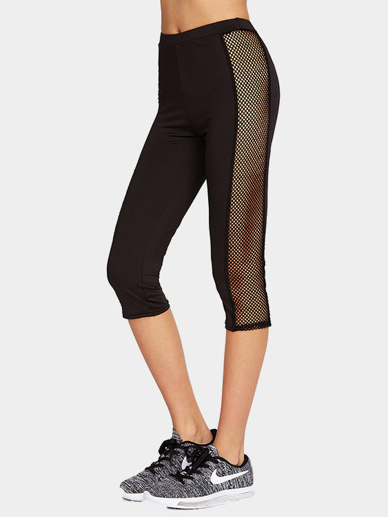 Casual High Waist Mesh Patchwork Bodycon Sport Leggings
